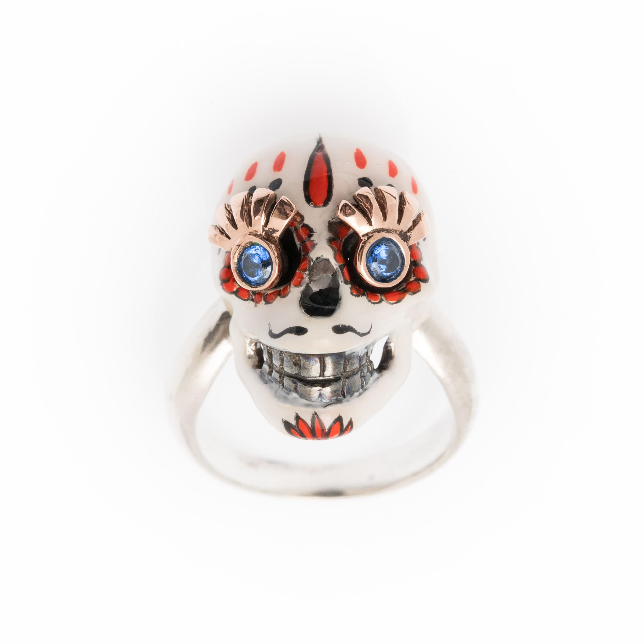 Anello divina skull catrina teschio messicano_1 rosa_blu (1)